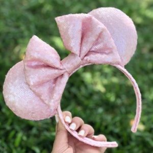 NWT Millennial Pink Full Sequin Minnie Mouse Ears